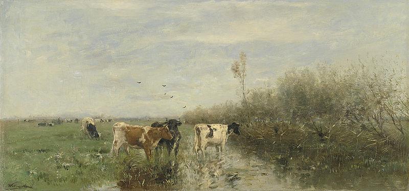 Koeien in een drassige wei - Willem Maris